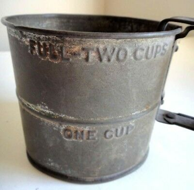antique early AMISH KITCHEN HAND SIFTER 2 cup measure