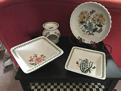 (4) PIeces of Portmeirion Botanic Garden - Quiche, Warmer and Bowls - Excellent