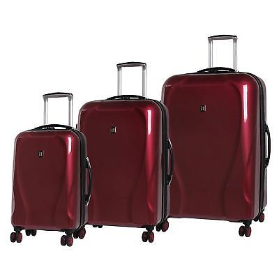 3x SET IT RED CORONA hardshell Spinner luggage ULTRA STRONG 8 wheels 3 Pieces