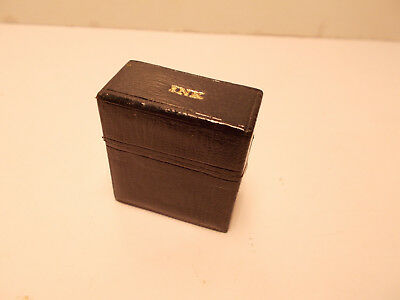Small Black Leather Bound Antique Vintage Travelling Cased Inkwell