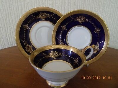 "Aynsley China  ""regent Cobalt Blue"" Trio, Cup, Saucer & Side Plate"