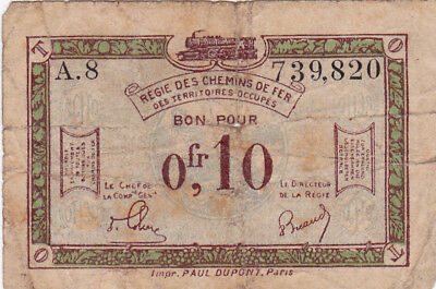 0,10 Francs Vg Banknote From  French Occupied Germany 1923!pick-R2