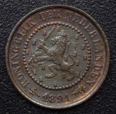 Netherlands 1891 1/2 Cent  Km#109, Y#3   Choice Uncirculated Brown