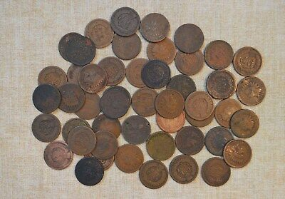 Roll Of 1864-L Pointed Bust Indian Head Cents - Circulated Problems - 50 Coins