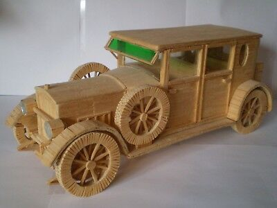 Vintage Large Sized Matchstick Model Of A Rolls Royce