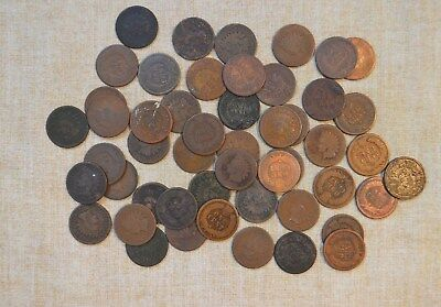 Roll Of 1874 Indian Head Cents - Circulated With Problems - 50 Coins