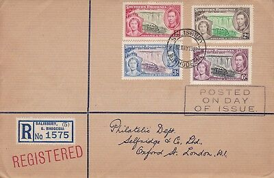 Southern Rhodesia 1937 Coronation Set On Selfridge First Day Cover