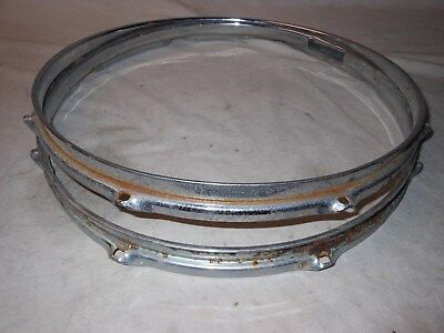 "Pair Vintage 1967 Rogers Powertone Chrome Plated 14"" 8-Hole Snare Drum Rims"