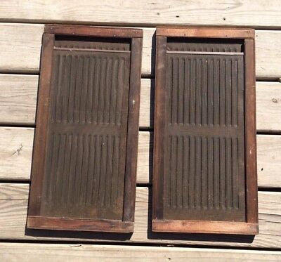 Pair of Vintage Expandable Antique Wood Wooden Window Screen Screens Vent Vents