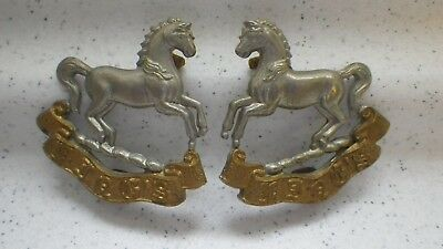 Wwi Ww2 Military Collar Badge X 2 Stallion Horse Design....very Nice Condition