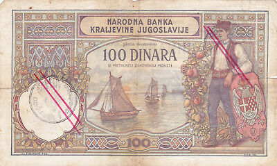100 Denara Fine Banknote From Italian Montenegro With Contemporary Fake Stamps!
