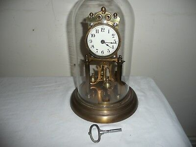 Juf Standard Early Anniversary Clock in Glass Dome, VGC & Working Order,With Key
