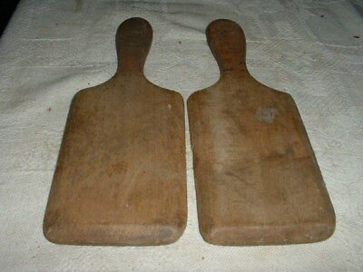 Pair Of Shabby Chic Primitive Antique Pine Wooden Butter Pats