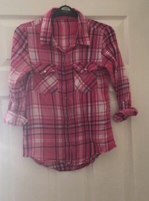 River Island Girls Longline Check Shirt Age 11-12 Next Day Post Bloggers Fav