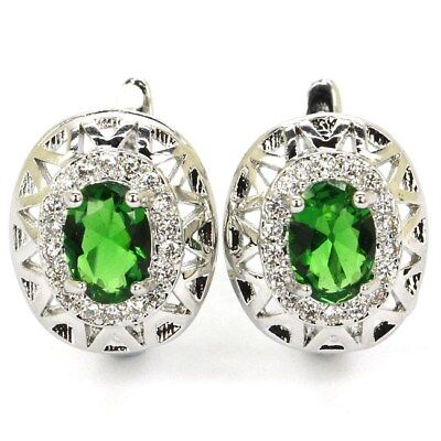 Stunning Green Emerald, CZ Ladies Wedding Silver Earrings