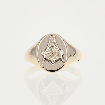 Vintage Blue Lodge Master Mason Ring - 10k Yellow Gold Masonic Signet