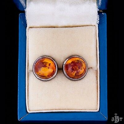 Antique Vintage Deco Sterling Silver Mid Century Baltic Amber Gold Wash Earrings