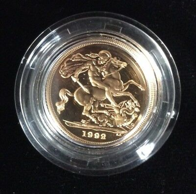 1992 Great Britain Proof Gold Sovereign Royal Mint 22-carat gold AGW .2354 of oz