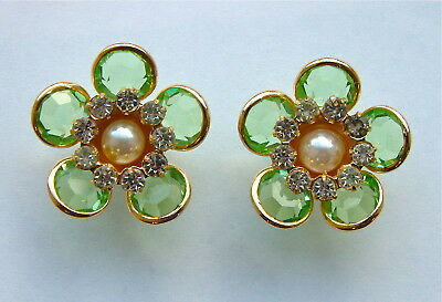 2 Vintage Floral Buttons Green Swarovski Crystal, Pastes & Pearl In Gold Metal