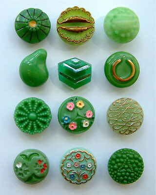 12 Antique & Vintage Green Glass Buttons, Enamel, Moonglow & More, 14mm to 15mm