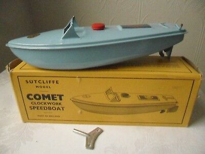 Vintage Sutcliffe COMET Clockwork Speedboat  - in original box with key
