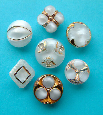 6 x 14mm Vintage White Moonglow Glass Buttons, Pastes, Gilt, Great Shapes