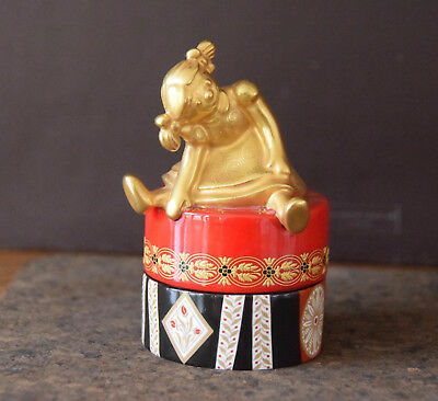 Minton Bonbonniere Trinket Box Art Deco Red And Black With Gilded Doll On Cover