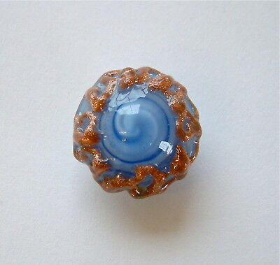 A Vintage Studio Blue Swirl Moonglow Glass Button With Pink Glass Overlay