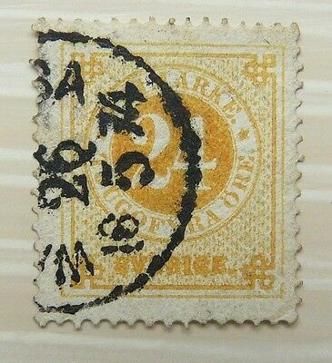 Sweden 1872 24 ore yellow used, p14
