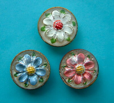 3 Vintage Floral Paperweight Buttons, Glass Top, Brass Base Pastel Colours