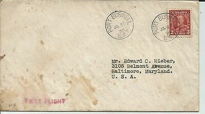 1936 Unlisted Canada First Flight Cover Flown from Port Burwell Canada