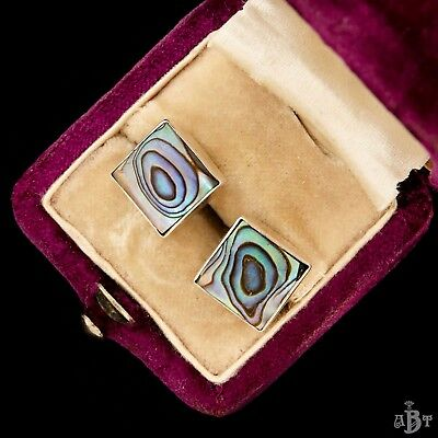 Antique Vintage Deco Sterling Silver Mid Century Inlaid Abalone Womens Earrings