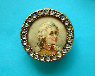 A 27mm Vintage Celluloid Lithograph, Count Fersen, Brass Frame With Pastes