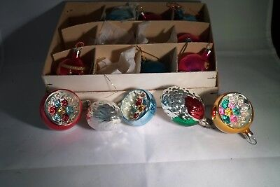 Rare Vintage Christmas Decorations Made Of Glass 5 In Mint Condition Xmas Deco