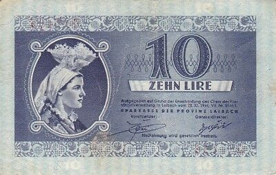 Slovenia Laibach 10 Lire 1944 WW2 German Occupation P.R20