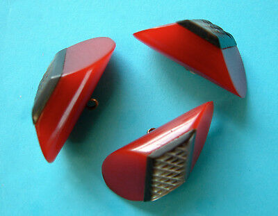 3 Vintage 40mm 3-Layered Art Deco Deep Red Wedge Shaped Buttons, Hard Plastic