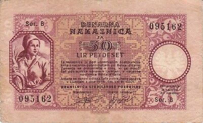 Slovenia Laibach 50 Lire 1944 WW2 German Occupation P.R21