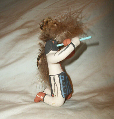 Signed B Fragua Pueblo Pottery Jemez Indian Native Flute Player