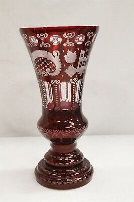 Antique Bohemian Moser Ruby Red Engraved Bird Castle Glass Vase Wow!