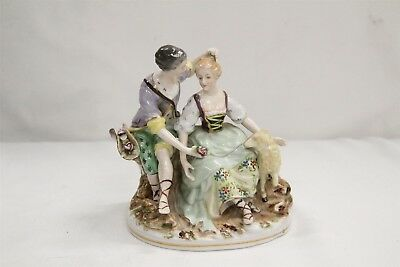 Antique German Dresden Porcelain Romantic Sheep Lady Man Figurine