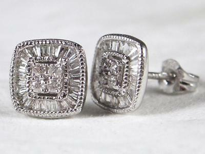Boxed 9ct White Gold .25 carat 48 Baguette & Round Diamond Set Stud Earrings