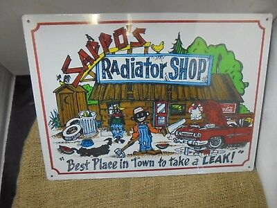 New Tin Sign Sappo's Radiator Best Place in Town To Take a Leak Negro Watermelon