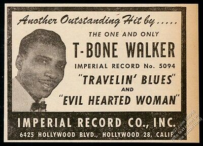 1950 T-Bone Walker photo Imperial Records vintage trade print ad