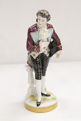 RARE German Dresden Volkstadt Royal Man Lace Porcelain Figurine Signed