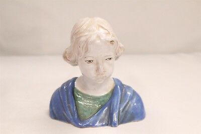 Art Nouveau Italian Majolica Blue Grey Green Lady Bust Pottery Sculpture