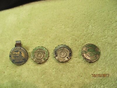 One Train Pen Cap & 3 Antique The Travelers Insurance Sterling Lapel Pin Pins