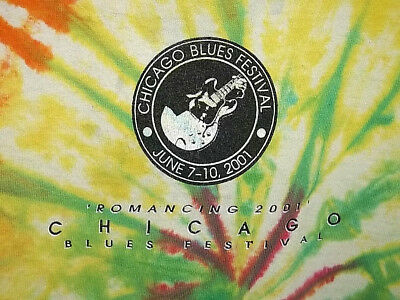 Chicago Blues Festival 2001 Adult Large Multicolor Tie-Dye & Graphic Tee T-Shirt