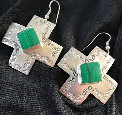 Vintage Signed  Sterling Silver 925 large Mexican cross earrings gemstone