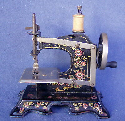 Vintage Muller Toy Sewing Machine Model #2 Floral - Made in Germany - No. 162315