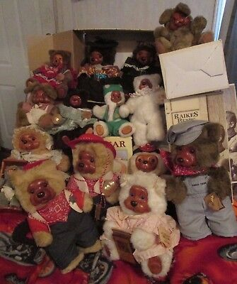 LARGE LOT 15 RAIKES BEARS WITH COA & BOXES - PIRATES - ENGINEER & MORE 1980's